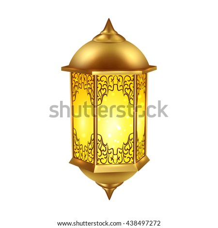 Realistic yellow ramadan lamp icon included on white background isolated and colored vector illustration - stock vector