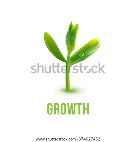 Realistic Young sprout logo. Spring seedling illustration. Green plant with growth slogan. Agriculture, ecology, new life and spring concept. Save green idea. - stock vector