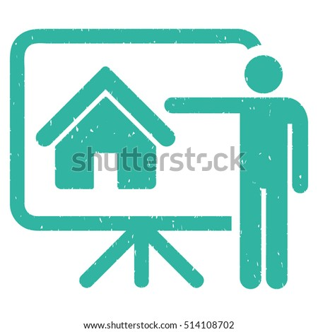 Realtor rubber seal stamp watermark. Icon vector symbol with grunge design and dirty texture. Scratched cyan ink emblem on a white background.