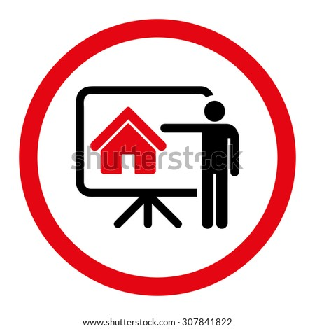 Realtor vector icon. This rounded flat symbol is drawn with intensive red and black colors on a white background.