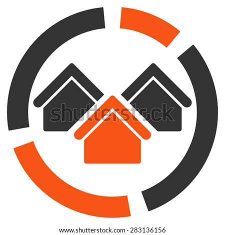 Realty diagram icon from Business Bicolor Set. Vector style: bicolor flat symbol, orange and gray colors, rounded angles, white background. - stock vector