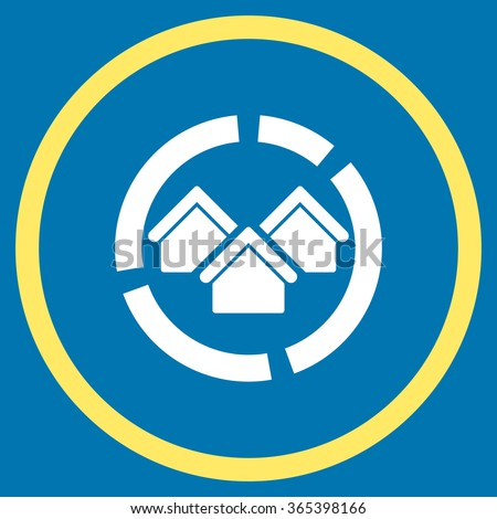 Realty Diagram vector icon. Style is bicolor flat circled symbol, yellow and white colors, rounded angles, blue background. - stock vector