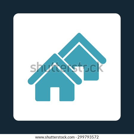 Realty icon. Vector style is blue and white colors, flat rounded square button on a dark blue background. - stock vector
