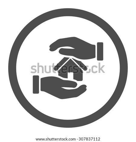 Realty insurance vector icon. This rounded flat symbol is drawn with gray color on a white background.