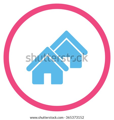 Realty vector icon. Style is bicolor flat circled symbol, pink and blue colors, rounded angles, white background. - stock vector