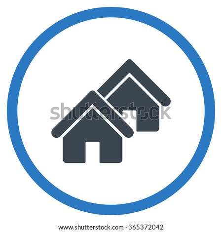 Realty vector icon. Style is bicolor flat circled symbol, smooth blue colors, rounded angles, white background. - stock vector
