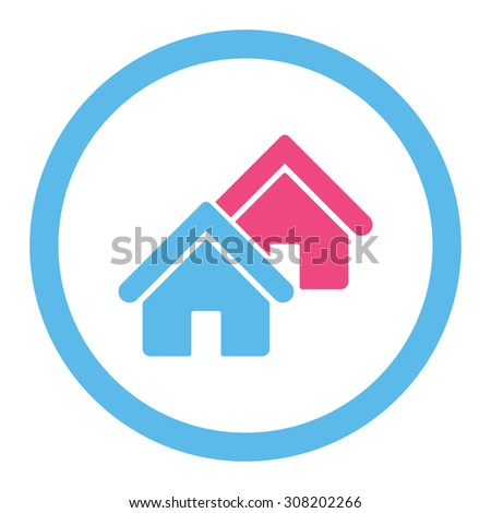 Realty vector icon. This rounded flat symbol is drawn with pink and blue colors on a white background. - stock vector