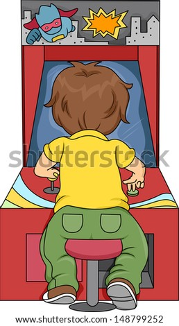 Rear View Illustration of Kid Boy Playing in Arcade - stock vector