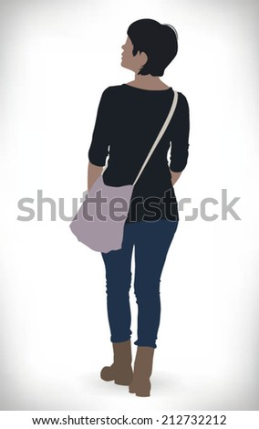 Rear view of a beautiful model walking with a bag - stock vector