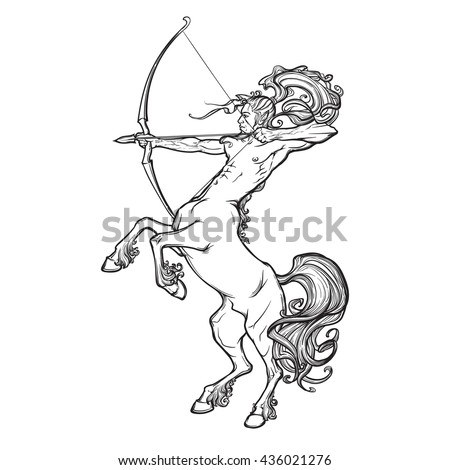 Rearing Centaur holding bow and arrow. Vintage style sketch. - stock vector