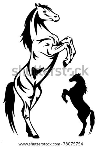 rearing horse vector - stock vector