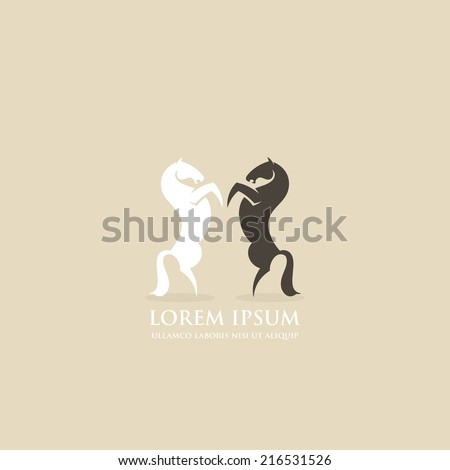 Rearing horses icon - vector illustration - stock vector