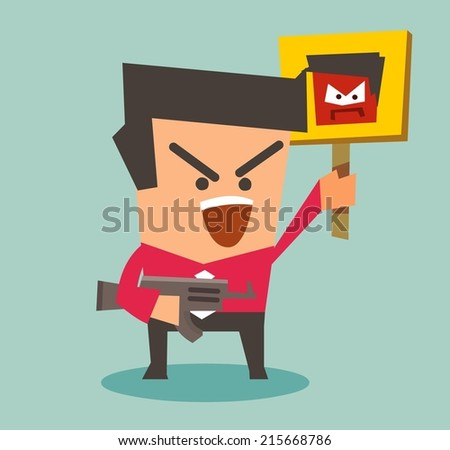 rebellion and Radical action. Flat vector illustration - stock vector