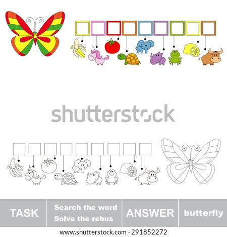 Rebus kid game. Search the word BUTTERFLY. Find hidden word. Task and answer. Game for children. - stock vector