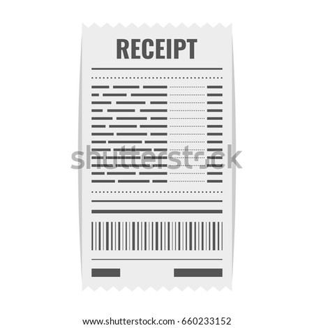 Receipt Icon. Invoice Sign. Bill Atm Template Or Restaurant Paper Financial  Check. Flat