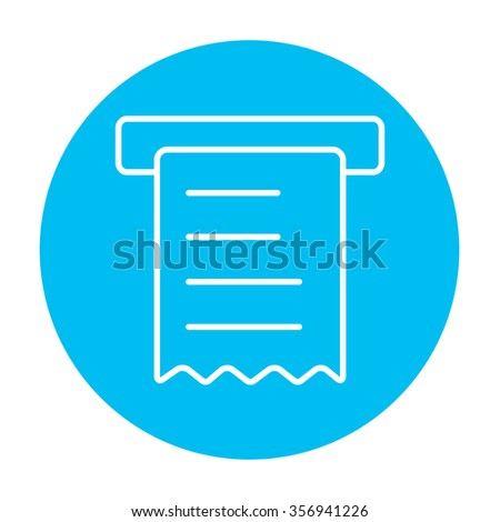 Receipt line icon for web, mobile and infographics. Vector white icon on the light blue circle isolated on white background. - stock vector