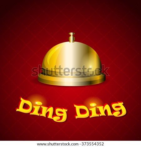 Reception Bell. Service bell in gold design. Ready to raise assistance for your projects. - stock vector
