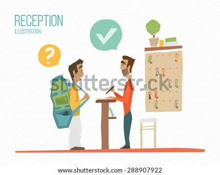 Reception color illustration. Receptionist and guest talking. - stock vector