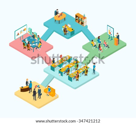 Reception, training, meeting room, office room, open space, top management concept.  Isometric 3d vector illustrations - stock vector