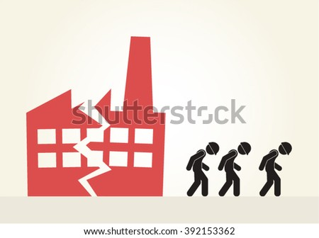 Recession, going out of business, bankruptcy, unemployment, vector design. - stock vector