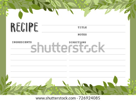 Recipe Card Cookbook Template Page Stock Vector Hd Royalty Free