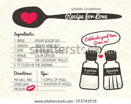 Recipe Card Creative Wedding Invitation Design Stock Vector HD