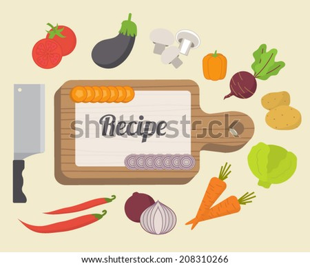 Recipe card, culinary template with food icons and kitchen elements. Flat design vector - stock vector