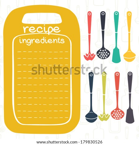 Recipe card design with kitchen utensils and frame in shape of cutting board. Ladle, spatula, skimmer. - stock vector
