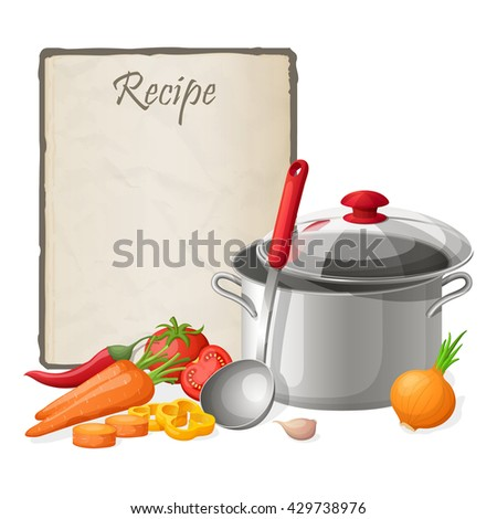 Recipe card. Kitchen note blank template vector illustration. Cooking notepad on table with kitchenware and vegetables