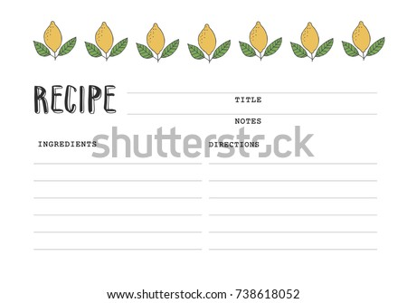 Recipe Card With Lemon Illustration. Cookbook Template Page.