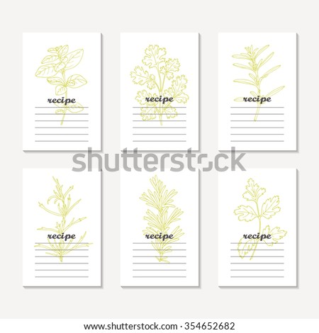 Recipe cards collection with hand drawn spicy herbs. Sketched tarragon, cilantro, parsley, rosemary, oregano, savory. Culinary template, kitchen background. Vector illustration - stock vector