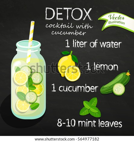 Healthy lifestyle concept flat style stock vector for Cocktail detox