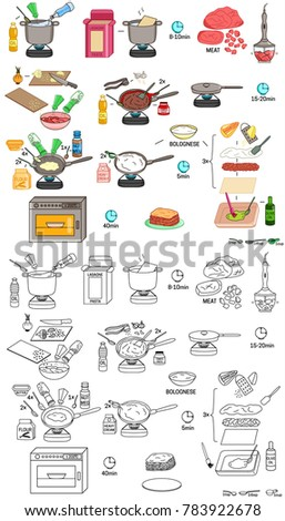 Recipe Lasagna Vector Diy Instruction Manual Stock Vector Hd