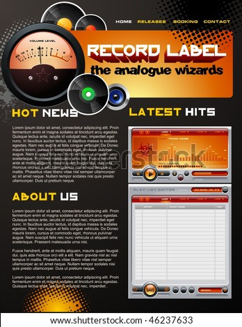 Record Label web design template - stock vector