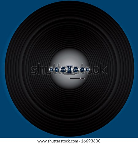 record or woofer with audio buttons-vector