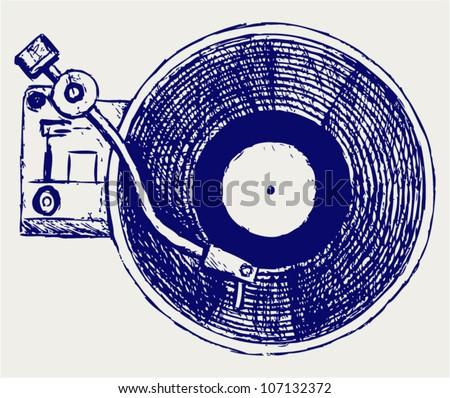 Record player vinyl record - stock vector
