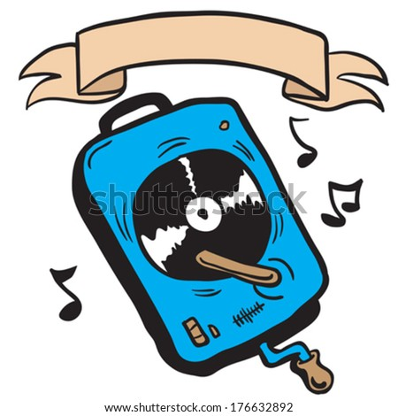 record player with banner cartoon doodle - stock vector