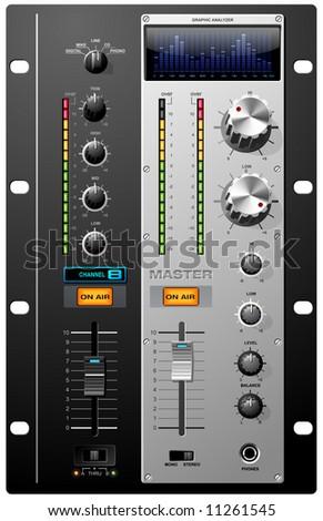Record Studio controls on mixer board vector - stock vector