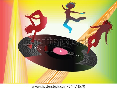record with dancing people - stock vector