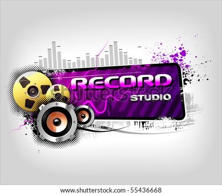 Recording Music banner - stock vector