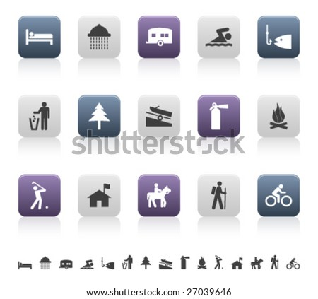 recreation and camping pictograms (2 of 3) - stock vector