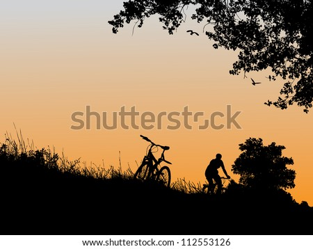 Recreation outside the city by the river at sunset - stock vector
