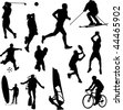 recreation sport silhouettes - vector - stock vector