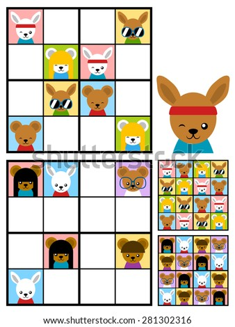 Recreational game for kids with a sudoku puzzle with colorful cute cartoon animal heads to fill the grid in two variations with answers, vector design - stock vector