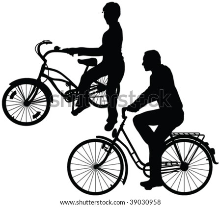 recreativ bicycle riders silhouettes - vector