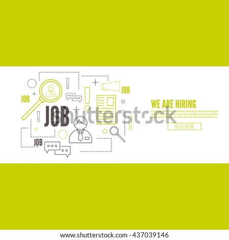 Recruitment. Concept search better candidate for open position. We are hiring, hr. Job offer. Wanted employee, staff. Vector linear icon. - stock vector