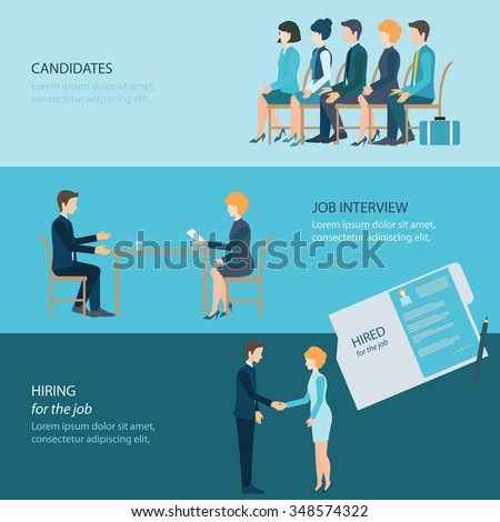 Recruitment flat banner set with candidates, job interview, hired the job, business people, human resources, conceptual vector illustration. - stock vector