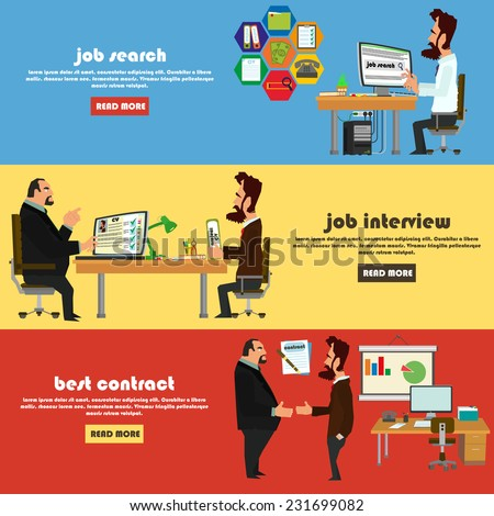 Recruitment flat banner set with job search, job interview and signing of a contract. vector illustration. - stock vector