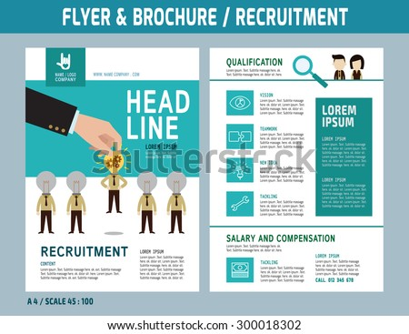 Recruitment flyer design vector template in A4 size. Brochure and Layout Design. business concept. - stock vector
