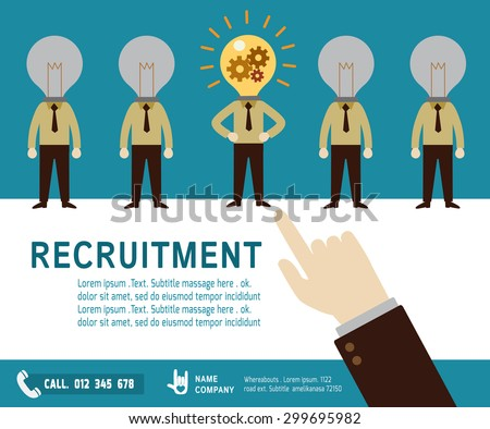 recruitment. Hand pointing to arab businessman.good choice concept.Isolated on background.flat design vector illustration concept. - stock vector
